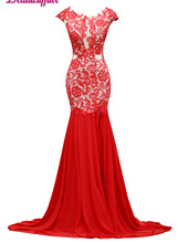 KapokBanyan Real Photo Reb Mermaid Prom Dress 2017 Vestido de festa Short Sleeve Appliques Scoop Lace Party Robe soiree
