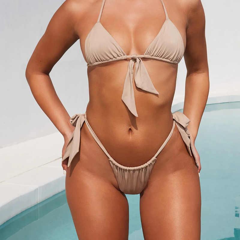 Sexy Mini Bikinis 2019 Mujer string Bikini ensemble Micro maillot de bain femmes à lacets maillots de bain femme arc femme maillot de bain Biquini baigneur