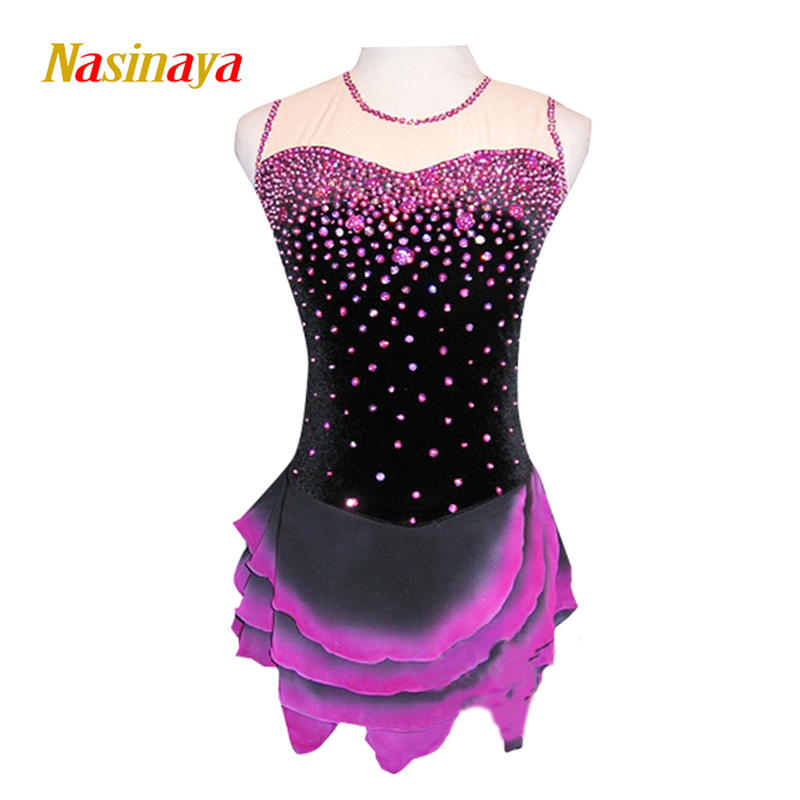 цена  Customized Costume Ice Figure Skating Gymnastics Dress Competition Adult Child Girl Skirt Performance Pink Rhinestone Black Body  онлайн в 2017 году