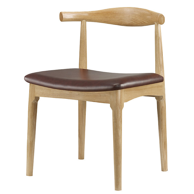 hans wegner style elbow dining chair with real leather
