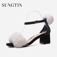 Sungtin Sexy Fur High Heels Sandals Women Fashion Chunky Heel Open Toe Ankle Strap Sandals Ladies Summer Party Shoes Sandalias