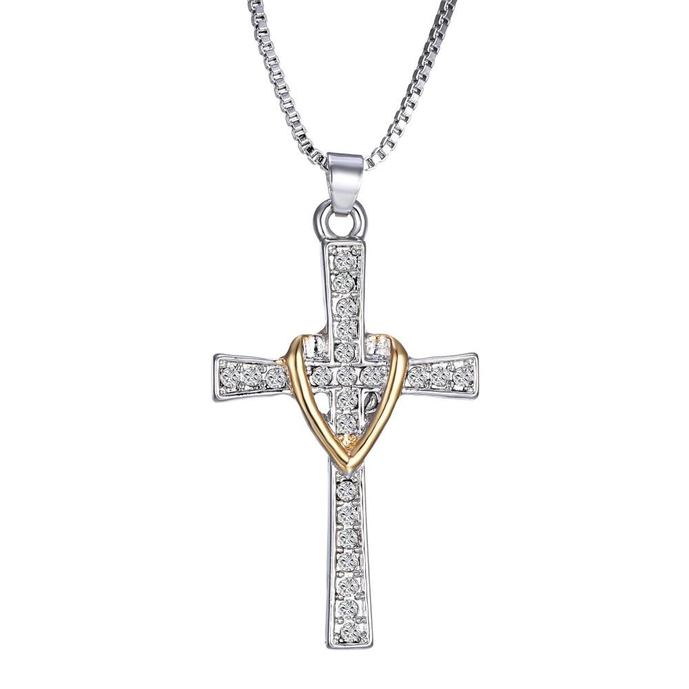 Rhinestone Jewelry Cross Pendant Necklace Heart Fashion Christian Jewelry Ronmantic Gift