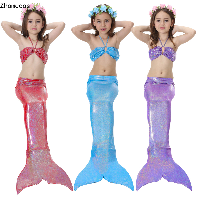 Girl's Mermaid Tails Swimmable Costumes With Monofin  Kid Zeemeerminstaart Cola De Sirena Cauda De Sereia Cosplay
