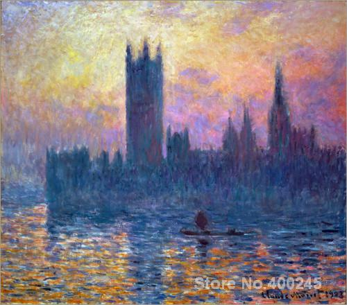 Landscape Paintings by Claude Monet The Houses of Parliament Sunset Bedroom decor High qualityLandscape Paintings by Claude Monet The Houses of Parliament Sunset Bedroom decor High quality