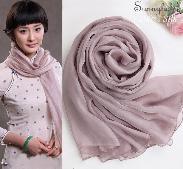 Womens scarfs brand luxury 100% Real Silk Scarf Smoke Pink Shawl Arabic Hijab scarves muslim pashmina winter silk newborn wraps