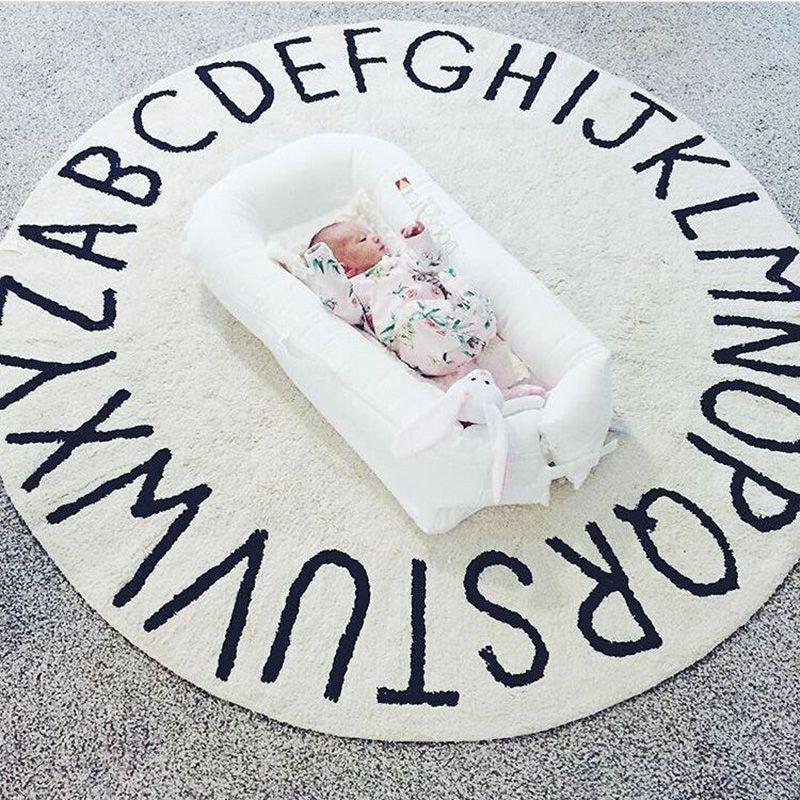 INS haute qualité 100% coton blanc rond ABC tapis et tapis rose tapis de jeu tapis tapete tapis chambre d'enfants décoration de la maison - 4