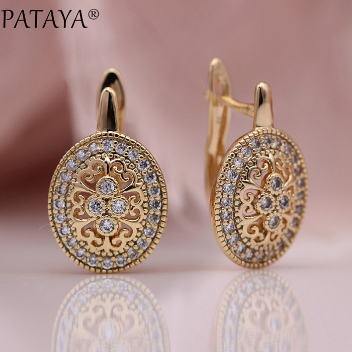 HTB1wvd8KhTpK1RjSZR0q6zEwXXas - PATAYA New Micro Wax Inlay Hollow Drop Earrings Women Luxury Wedding Fashion Jewelry 585 Rose Gold Natural Zircon Flower Earring