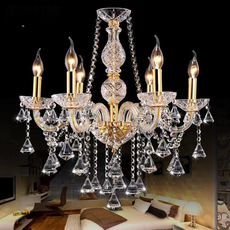 Gold crystal chandelier lighting for indoor home for Decoration lights indoor