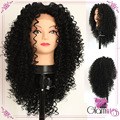 Natural Black Middle Bang Synthetic Wigs Kinky Curly Lace Front Wig Heat Resistant Fiber Curly Synthetic Lace Front Wig