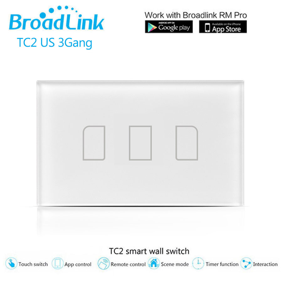 Broadlink TC2 Wifi Touch Switch US / AU 3Gang Trådlös - Smart electronics