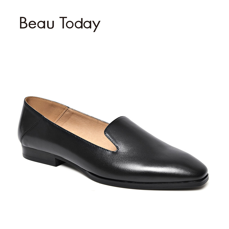 BeauToday Loafers Women Genuine Calf Leather Brand Square Toe Slip-On Lady Flats Top Quality Shoes Handmade 27089 beautoday loafers women top quality brand flats genuine leather metal decorated square toe calfskin shoes mix colors 15701