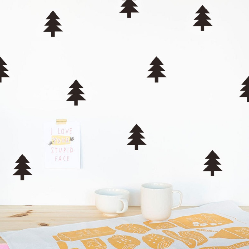 40pcs/set Lovely Cartoon Christmas Tree Pine Tree Sticker Children DIY Bedroom Decoration Kids Christmas Decor Nordic Style Toys