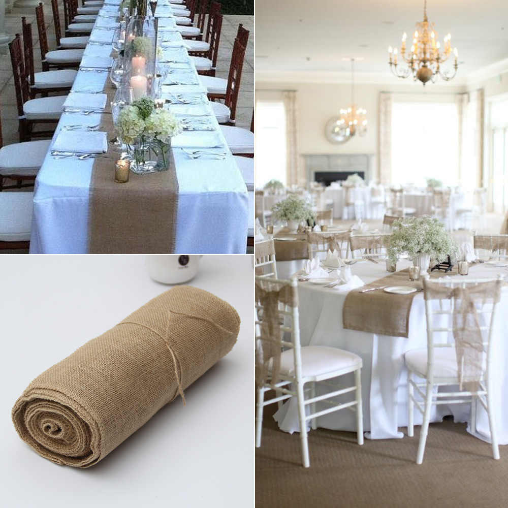 11cmX11M Vintage Natural Burlap Jute Linen Wedding Table Runner
