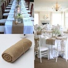 30cmX10M arpillera de lino de Yute Natural Vintage camino de mesa de boda paño de Navidad comedor restaurante gadget de mesa decoración del hogar