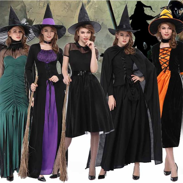 Cosplay Wicca Witch Medieval Dress Women Adult Plus Size Ghost Gothic Wizard  Cloak Cape Robe Hooded Halloween Costumes for Women d86a03bc3565