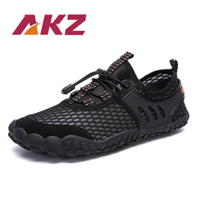 AKZ Mens Casual Shoes New Spring Summer High Quality Air Mesh Round Toe Male Outdoor shoes light Comfortable Elastic band
