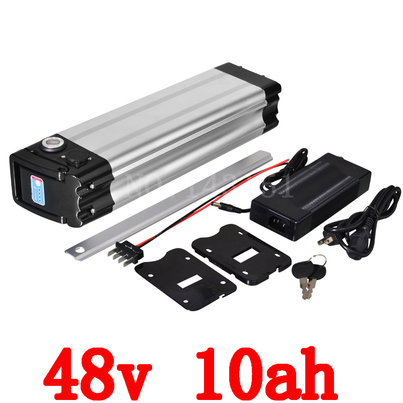 48v lithium ion battery silver fish case electric bike battery 48v 10ah ebike li-ion battery with 2a charger atlas bike down tube type oem frame case battery 24v 13 2ah li ion with bms and 2a charger ebike electric bicycle battery