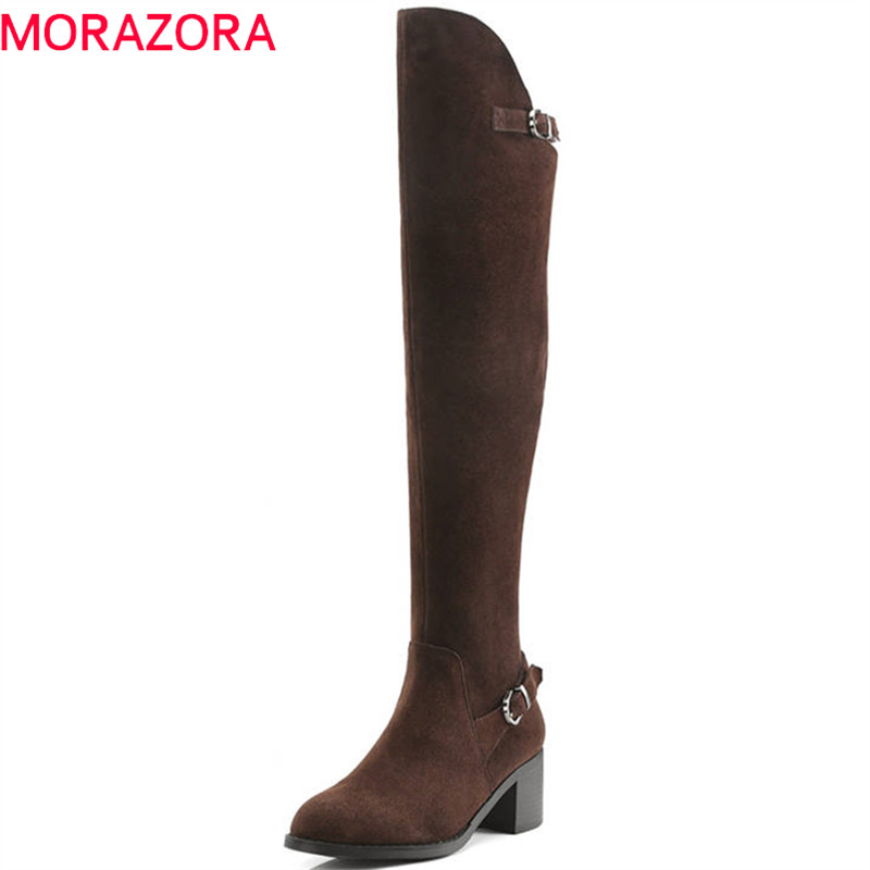 MORAZORA 2020 top quality suede leather over the knee boots women pointed toe autumn winter boots zipper fashion prom shoes