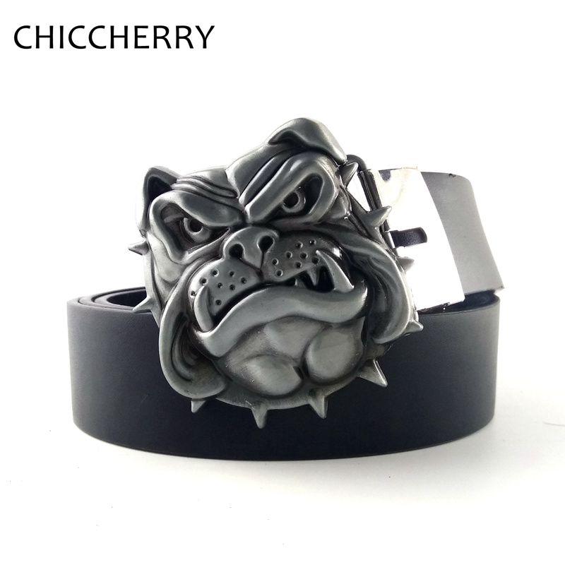 Nueva Plata de La Manera Bulldog Cabeza Novedad Única de Metal Hebillas De Cinturón con Negro Marrón Cinturones de Cuero de LA PU Para Los Pantalones Vaqueros Ocasionales de Los Hombres vestido