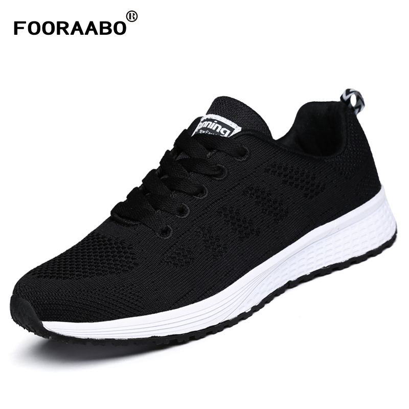 FOORAABO 2017 New Fashion Women Shoes Casual Summer Breathable Mesh Flat Female Platform Woman Shoes Black White Chaussure Femme ea7 ea7 ea002emhec27