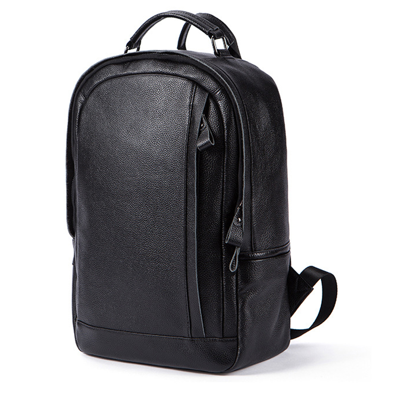 MACWAVE Genuine Leather Laptop Backpack For 14 Inch Laptop Notebook Black Leather College School Bag Travel