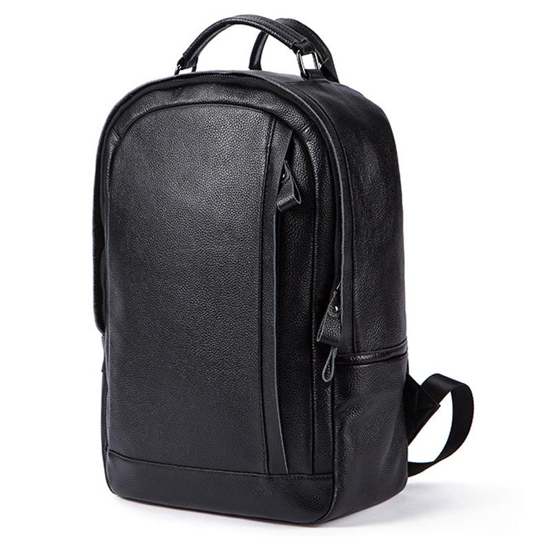 Bagaj ve Çantalar'ten Sırt Çantaları'de MACWAVE Hakiki Deri Laptop Sırt Çantası 14 Inç Dizüstü Bilgisayar Için Dizüstü Siyah Deri Kolej okul çantası seyahat sırt çantası'da  Grup 1