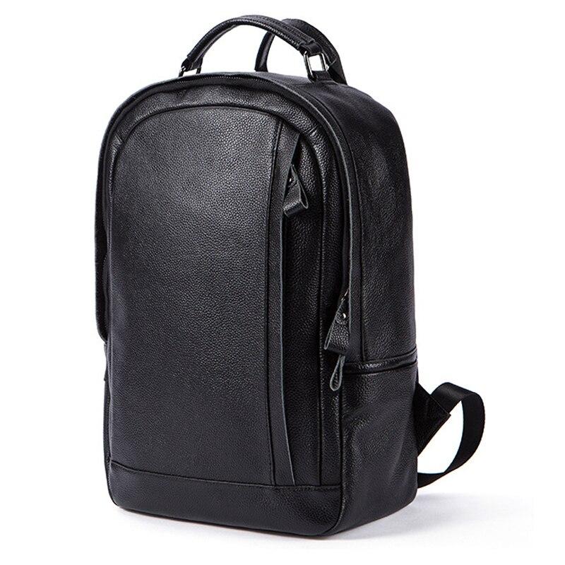 MACWAVE véritable sac à dos en cuir pour ordinateur portable pour ordinateur portable 14 pouces ordinateur portable portable noir en cuir collège sac d'école voyage sac à dos