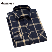 AILEEKISS 2019 Fashion New Plaid Shirt Men Casual Long Sleeved Social Business Sleeve Stripe Soft Comfortable Clothes XT756