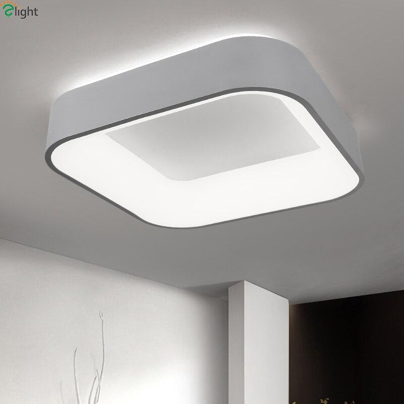 Nordique Simple acrylique Dimmable Led plafonniers carré en aluminium chambre Led plafonnier salon Led plafonnier luminaire