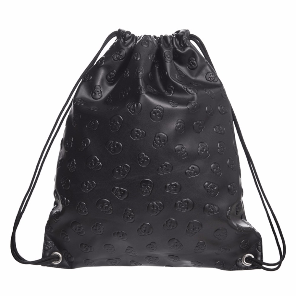 New <font><b>Unisex</b></font> Skull Drawstring <font><b>Leather</b></font> 2018 Fashion Travel <font><b>Backpack</b></font> Bags Black THINKTHENDO image