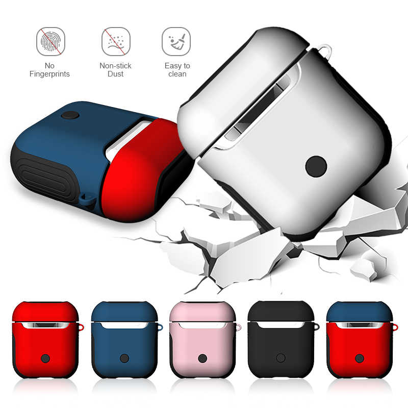2 in1 TPU + PC Earphone Case For Apple AirPods Wireless Earphone Charging Cover for AirPods Protective Accessories