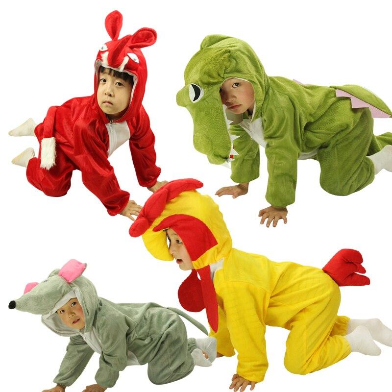 NoEnName Free shipping Flannel Cartoon Winter  Animal pajamas one piece dinosaur dog /cow Boys girls pyjamas for kids/Children