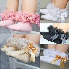 Детские носки принцессы с бантом для маленьких девочек милые хлопковые носки с кружевными оборками и бантом для маленьких девочек