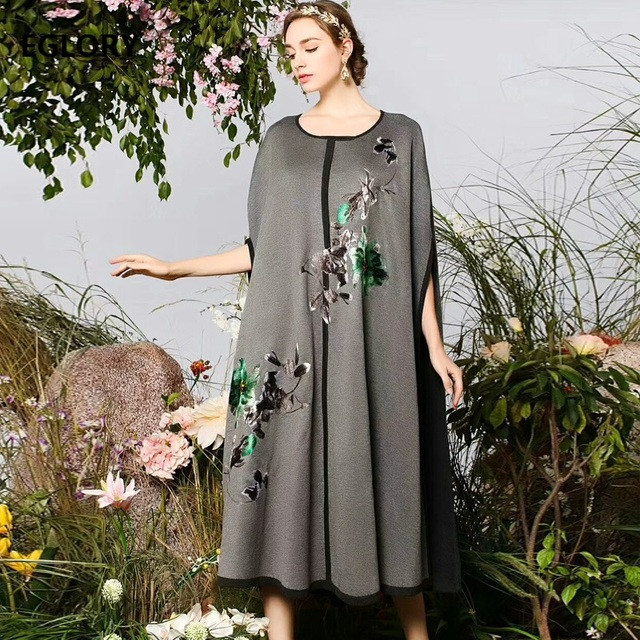 Top Quality Brand Sweater Dress Cape Poncho Women Luxurious Embroidery Wool Knitted Dress Casual Knitwear Female Pullovers 3XL