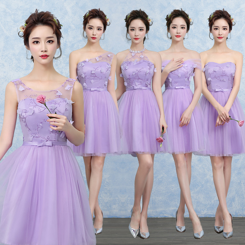 Clearance Sale Sweet Memory Short Light Purple Lilac Bridesmaid Dresses Wedding Guests Sister Party Prom Graduation Gown Sw0014 Bridesmaid Dresses Aliexpress