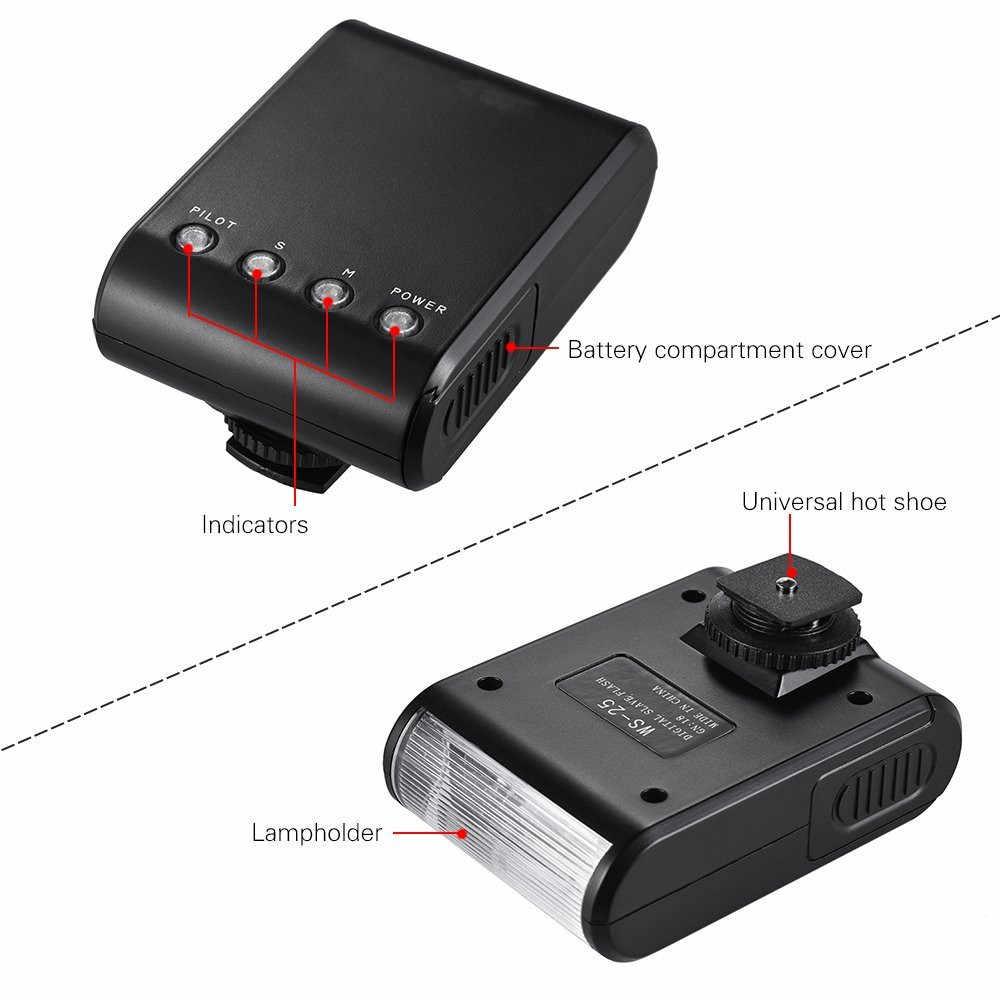 Mini LED Flash Speedlite Senter untuk Nikon Z50 D3500 D3400 D3300 D3200 D3100 D3000 Canon EOS 200D 1500D 1300D 1200D 1100D