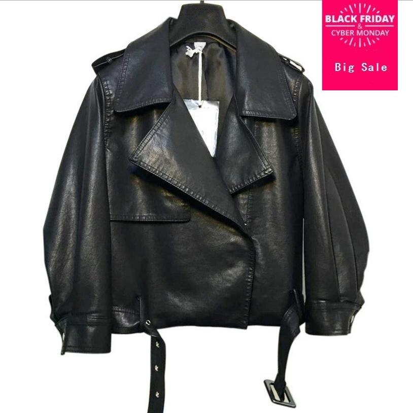 Korean version 2018 spring autumn fashion new women's Harajuku style PU   leather   jacket bf loose student short coat outwear L877