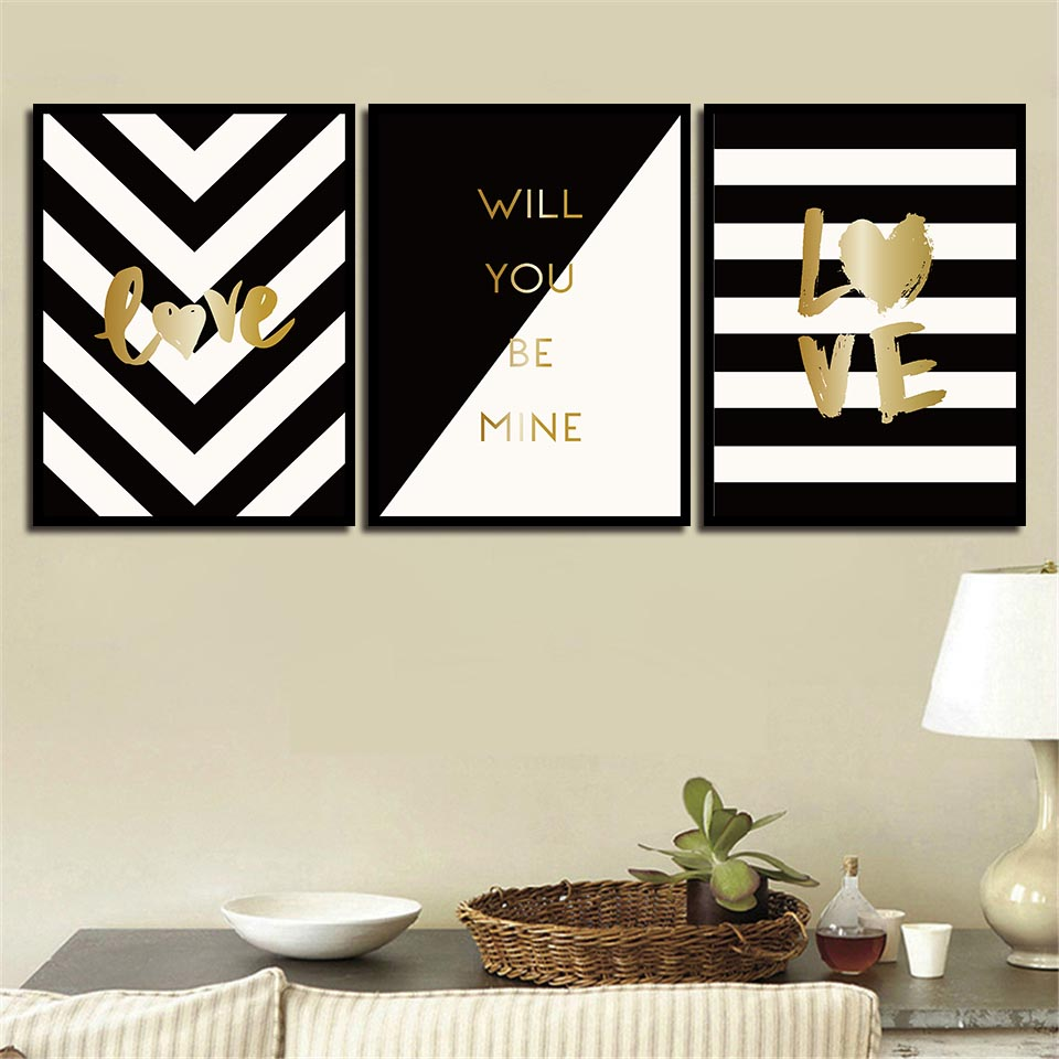 White And Gold Wall Decor: Black And White Line Pictures Minimalism Gold Letters