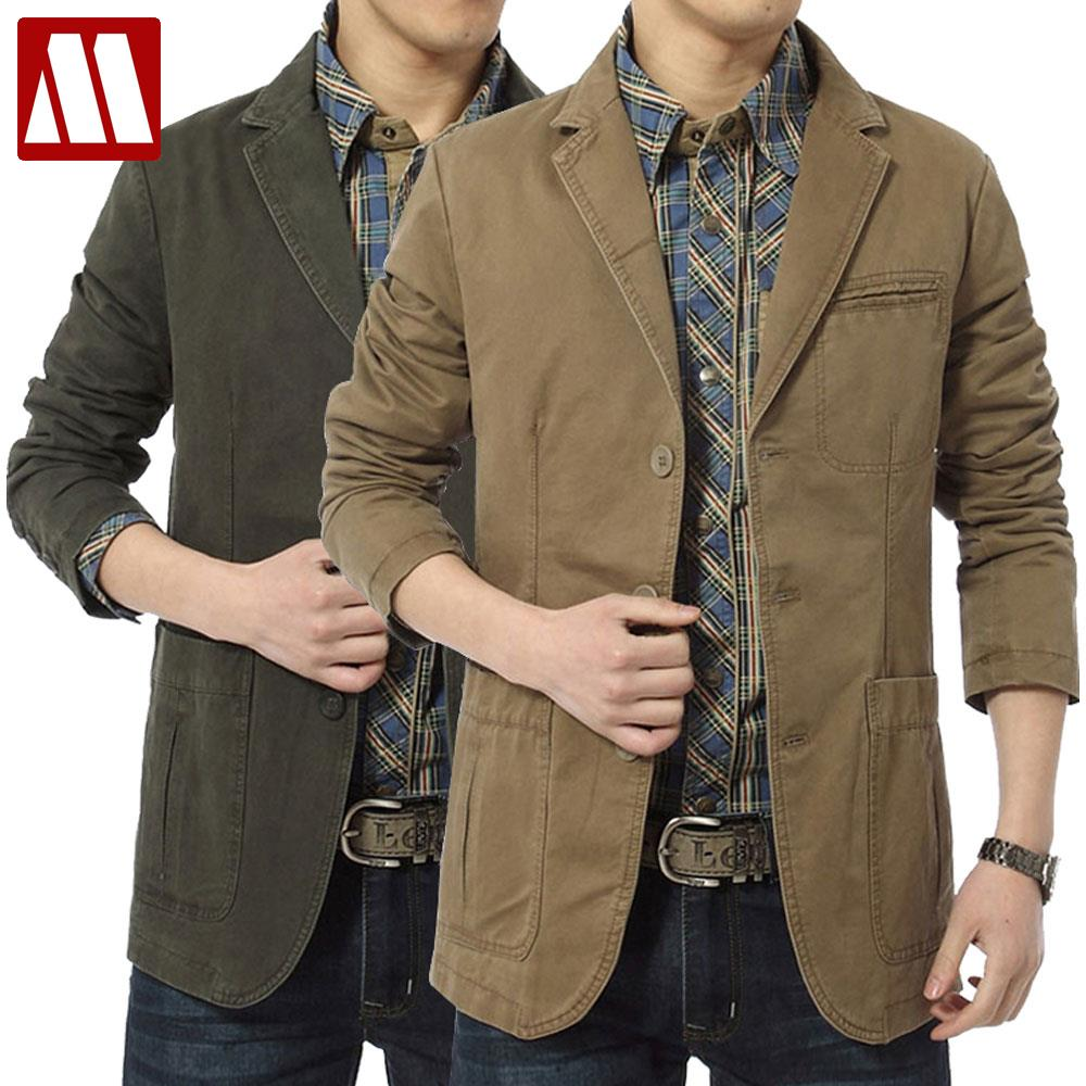Mens khaki jacket casual - 2016 Outdoors Men S Leisure Suit New Style Cotton Suits Three Button Men Casual Blazers Army Jacket