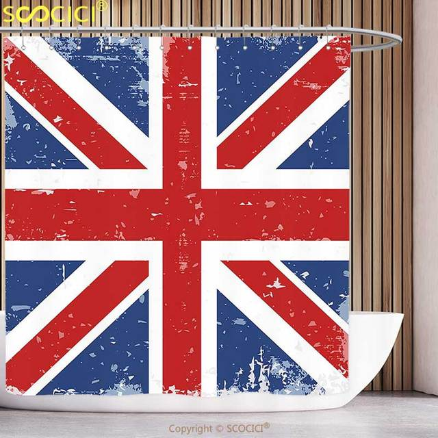 Funky Shower Curtain British Abstract England London Flag Old Vintage Like Print With Shadow Red