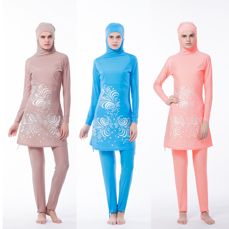 New Muslim Bathing Suit Lady Conservative Swim Wear wtih Islamic Women Beach Bathing Swimming Suite 2-Piece Suit 3 Colors