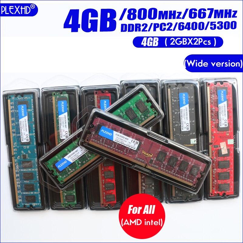 PLEXHD Desktop PC Memory RAM Memoria Module DDR2 800 PC2 6400 4GB(2PCS*2GB) Compatible DDR2 800MHz / 667MHz  (Wide version) 6