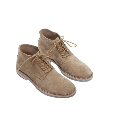 Wild Anti-Fur Frosted Leather Desert Boots Tide Men's Casual High Shoes Fall Winter Warm Lace Men's Shoes Black Apricot
