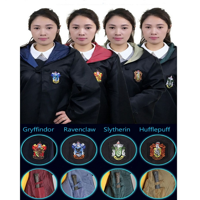 Kids and Adult  Harri Potter Cosplay Costume Robe Cloak with Tie Scarf Ravenclaw Gryffindor Hufflepuff Slytherin