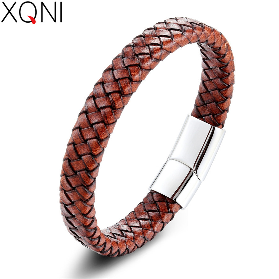 XQNI pulseiras masculin Minimalist Braided Non-fading Anti-allergy Genuine Leather Bracelet & Bangle For Men Accessories Jewelry