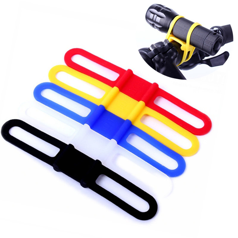 New silicon strap mountain road bike torch phone flashlight bands elastic bandage bicycle light mount holder