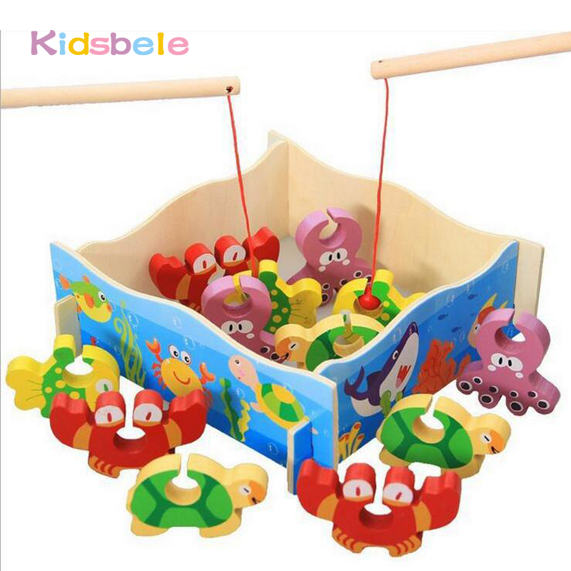 Kids Fishing Toys Educational Wooden Gift Fishing Board Mini Ocean Crab Assembling Fishing Game Outdoor Fun Toys For Children