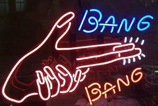 Custom Bang Bang Glass Neon Light Sign Beer Bar