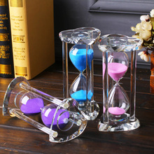 Heart-shaped transparent crystal hourglass timer, craft glass decoration, birthday Valentines Day creative gift