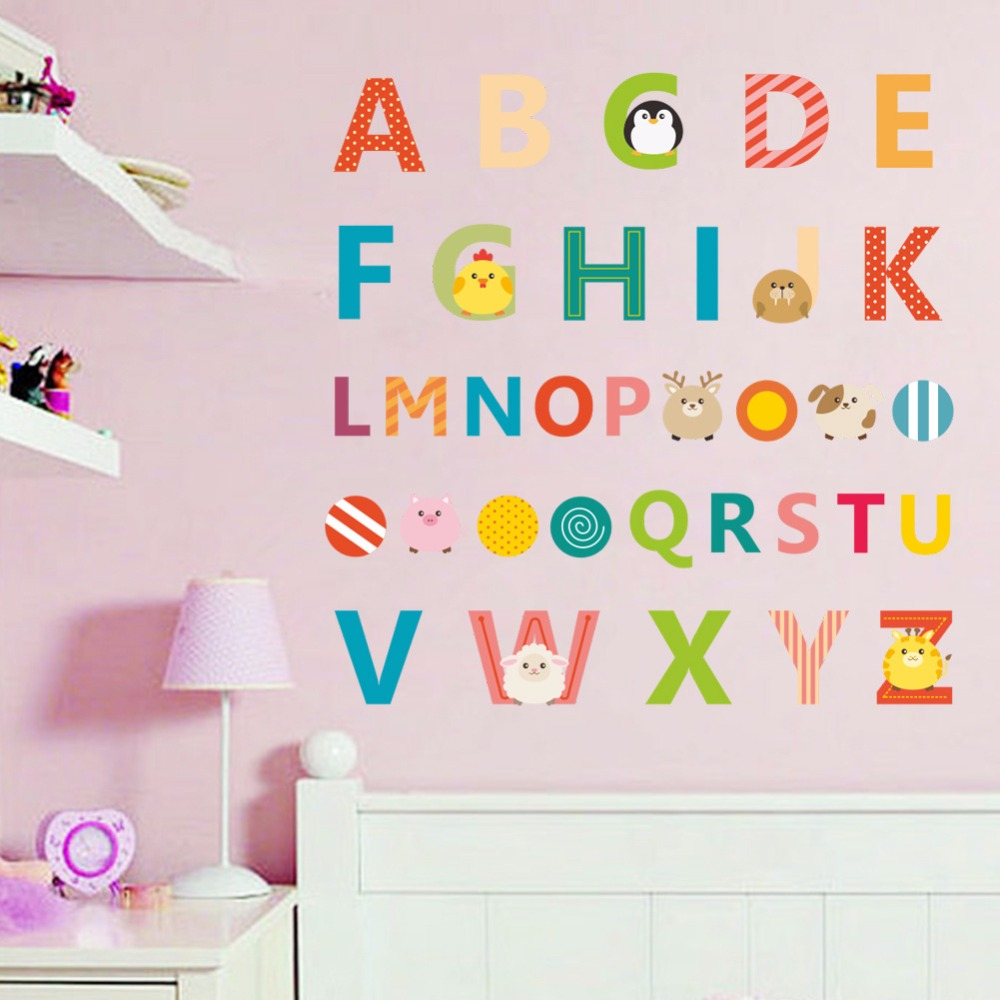2018 big sale Alphabets Characters Education Wall Stickers Home Decor Removable Decoration Children Bedroom Art Sticker